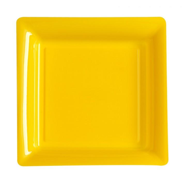 Lot de 12 assiettes carrées jetables jaune prairie MM