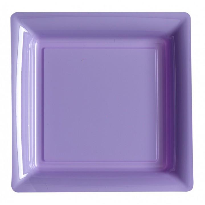 Lot de 12 assiettes carrées jetables lilas GM