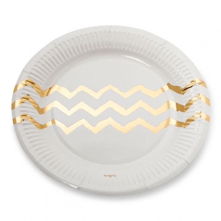 Lot de 12 assiettes jetables blanches chevrons or en carton D 18 cm