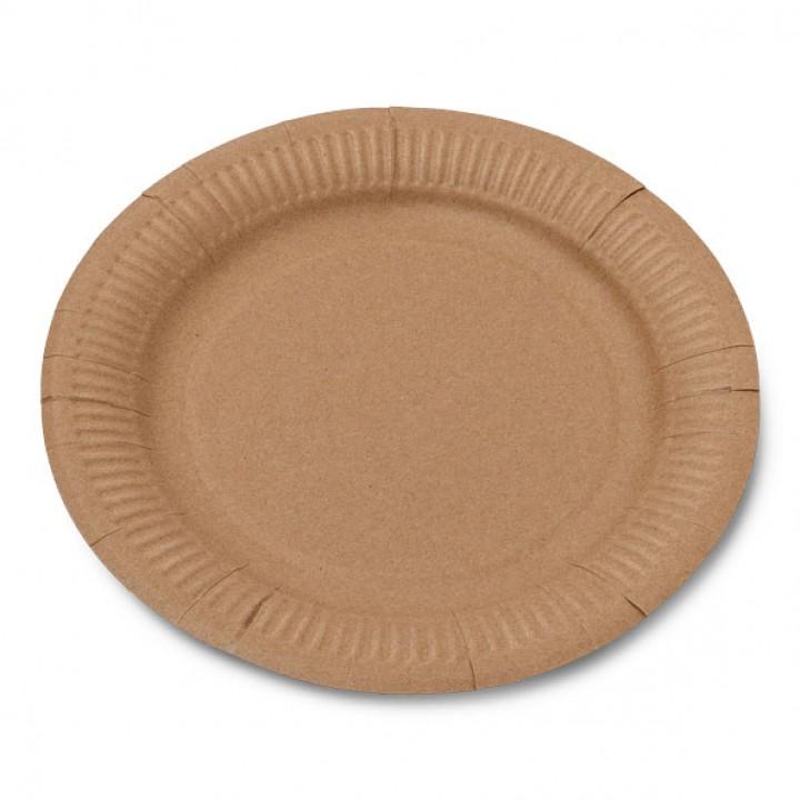 Lot de 12 assiettes jetables en carton kraft D 23 cm