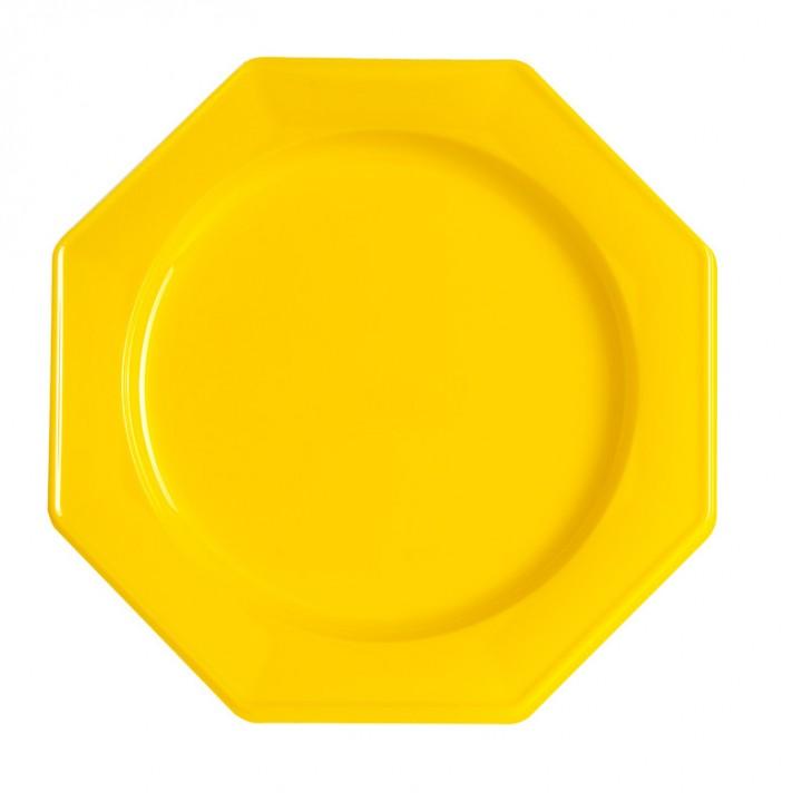 Lot de 12 assiettes octogonales jetables jaune GM