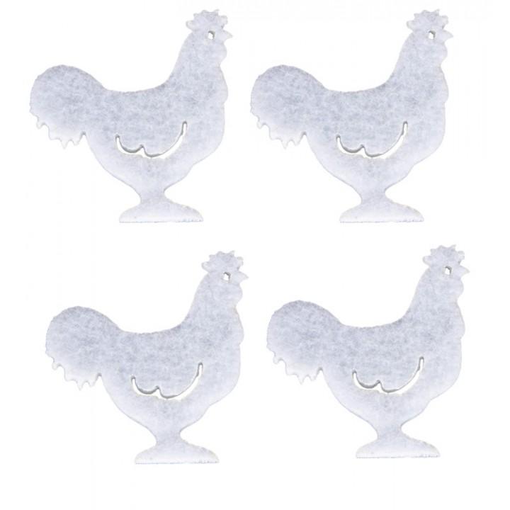 Lot de 12 coqs en feutrine blanches 4 cm