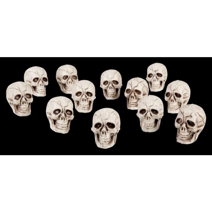 Lot de 12 crânes halloween 4x3 cm