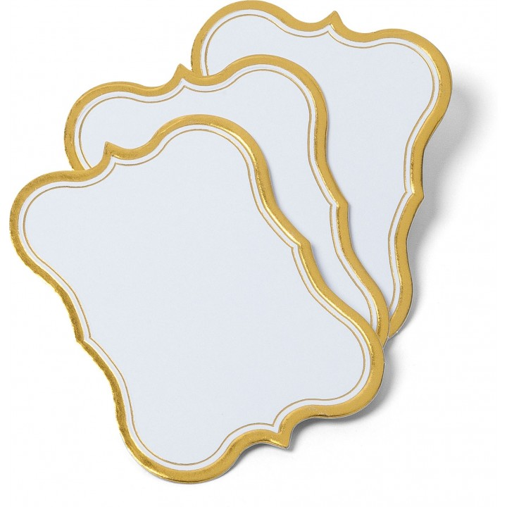 Lot de 12 Etiquettes blanches bord doré 8 x 5 cm