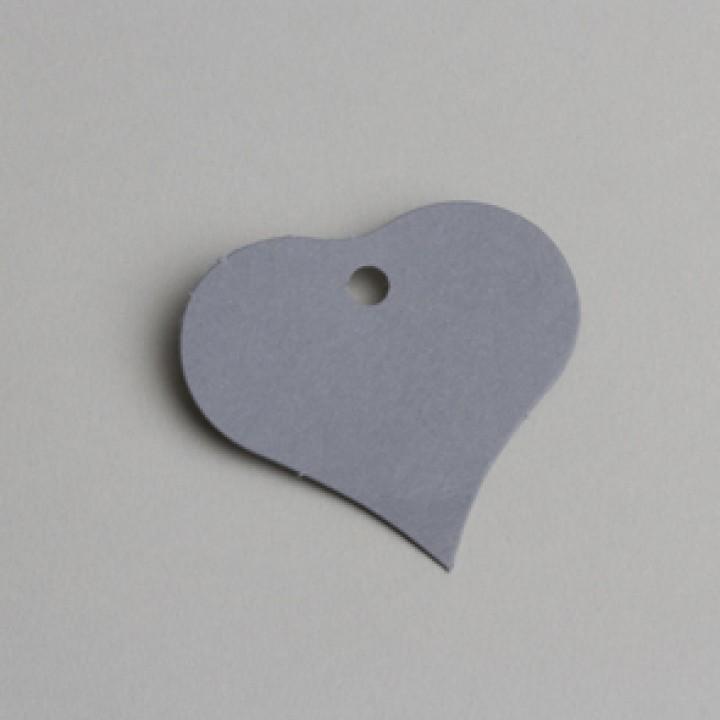 Lot de 12 étiquettes cœur gris