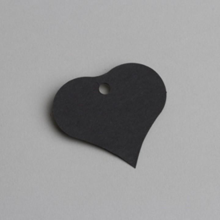 Lot de 12 étiquettes Cœur noires