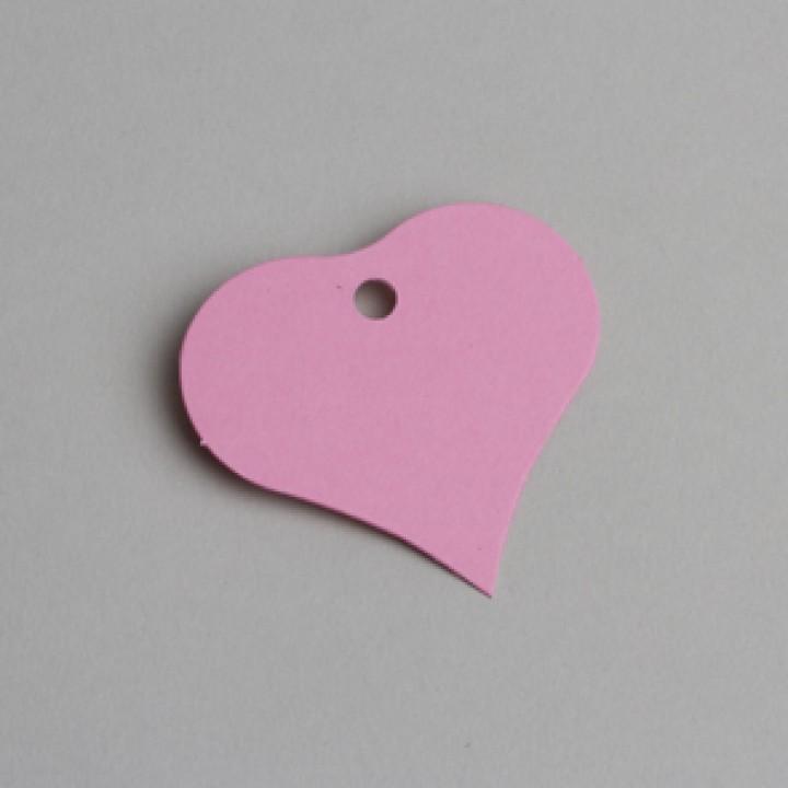Lot de 12 étiquettes Cœur roses