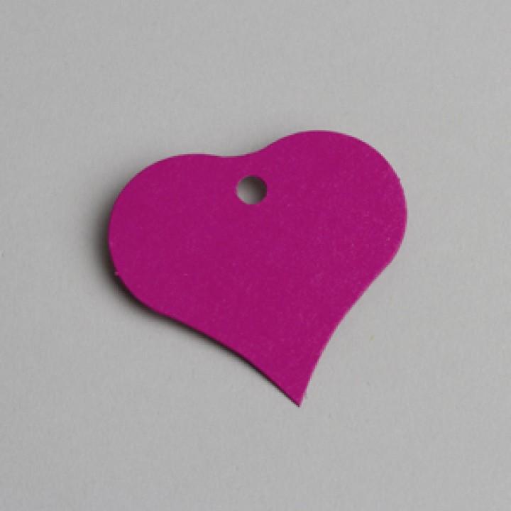 Lot de 12 étiquettes coeur fuschia