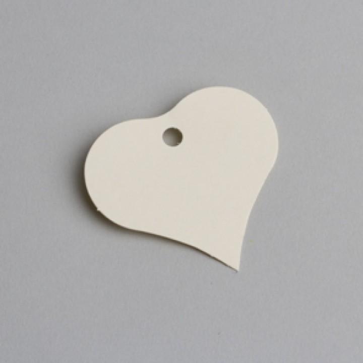 Lot de 12 étiquettes coeur ivoire