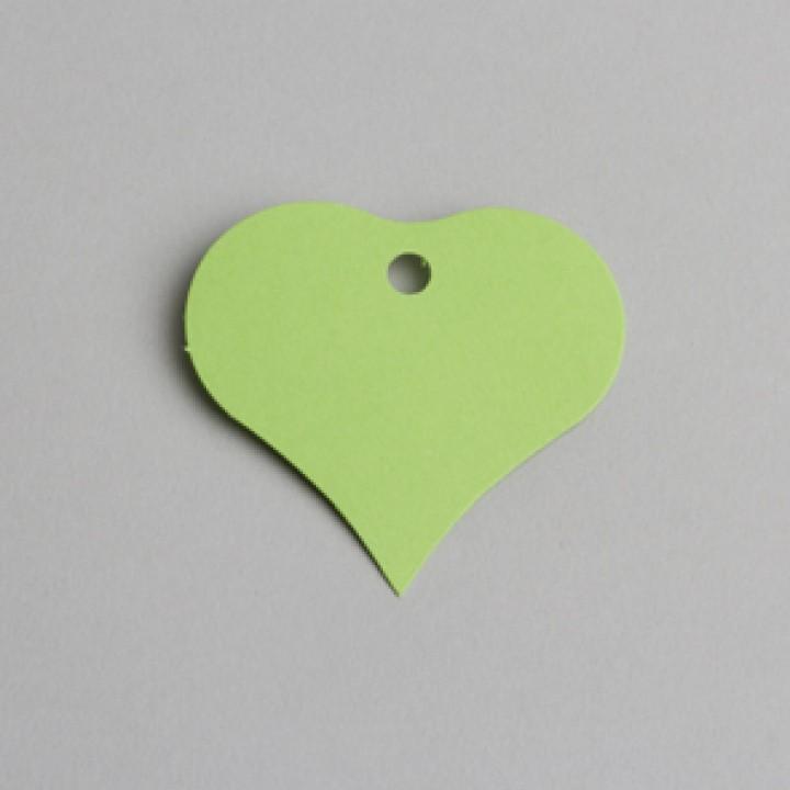 Lot de 12 étiquettes coeur vert