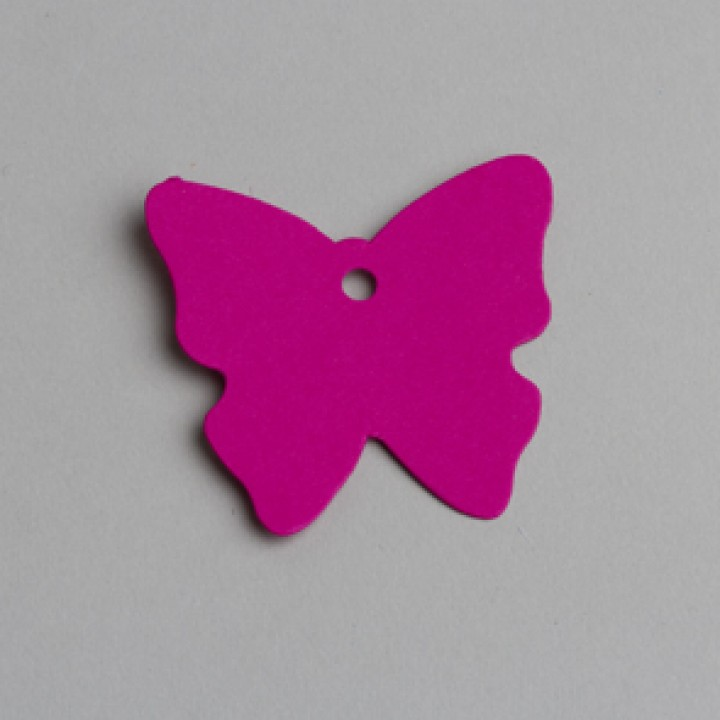 Lot de 12 étiquettes papillon fuschia