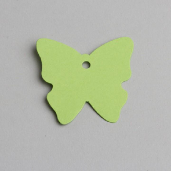 Lot de 12 étiquettes papillon vert anis