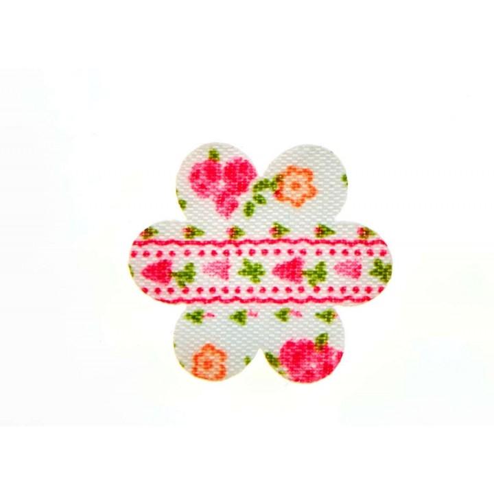 Lot de 12 fleurs stickers fuschia en feutrine