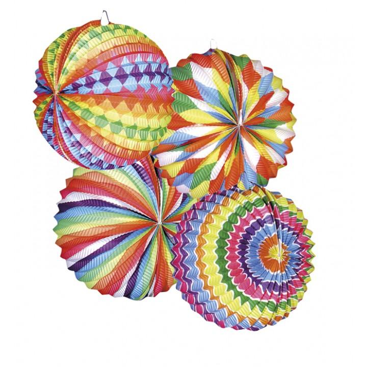 Lot de 12 lampions ballon bariolé multicolore 22 cm