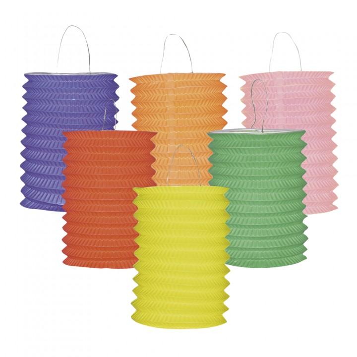 Lot de 12 lampions cylindrique 13 cm coloris unis assortis