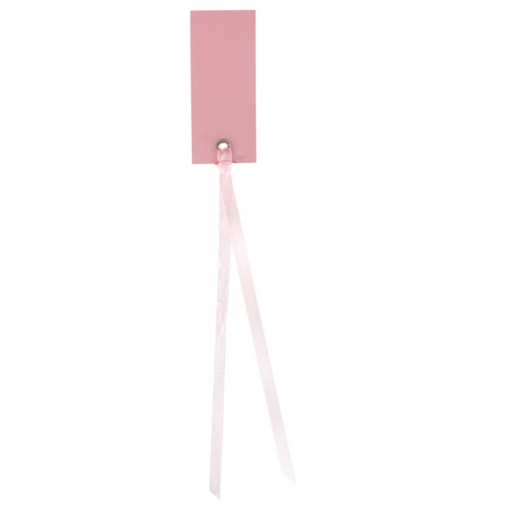 Lot de  12 marque-place rectangulaires Ruban rose
