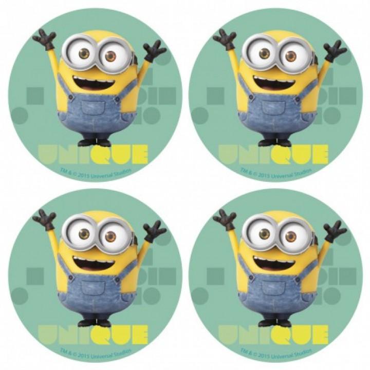 Lot de 12 mini disques déco azyme Minions 4,5 cm