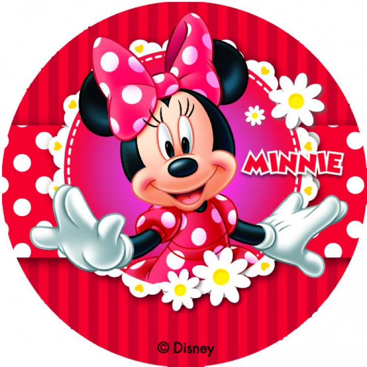 Lot de 12 mini disques déco azyme Minnie 4,5 cm