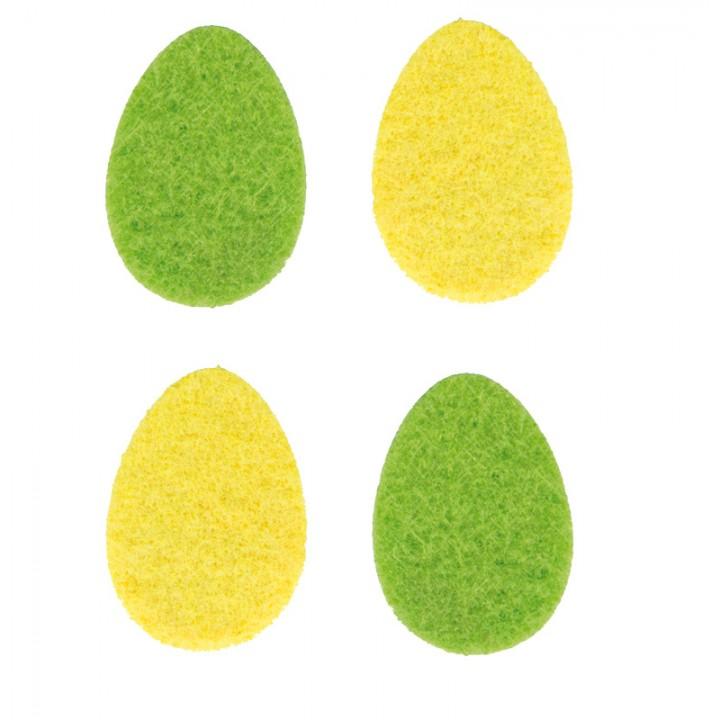 Lot de 12 oeufs en feutrine jaune et verte 4 cm
