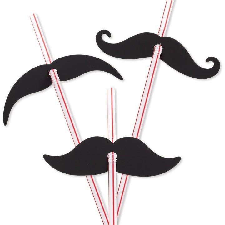 Lot de 12 pailles moustache jetables