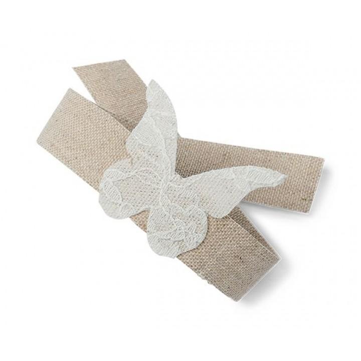 Lot de 12 papillons dentelle 5 cm sur ruban lin  30 cm