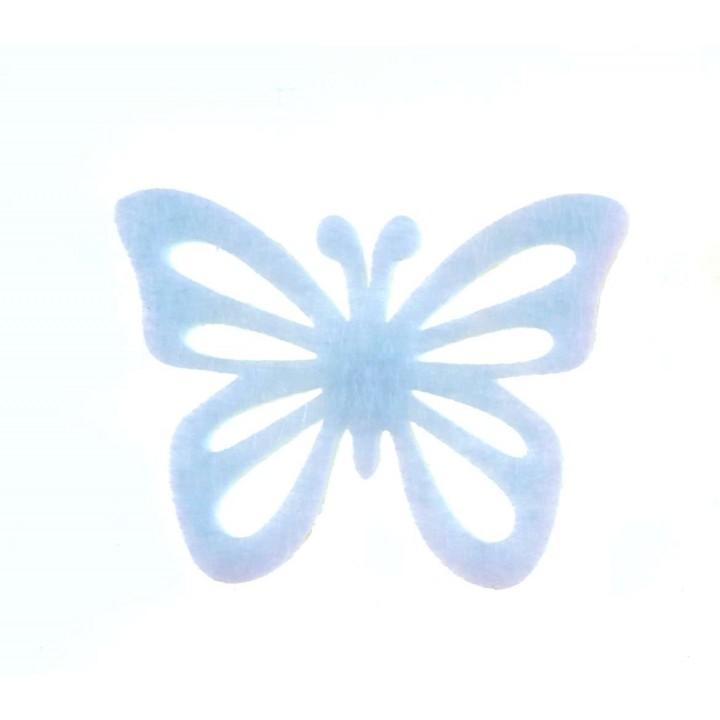 Lot de 12 papillons stickers en feutrine blanche