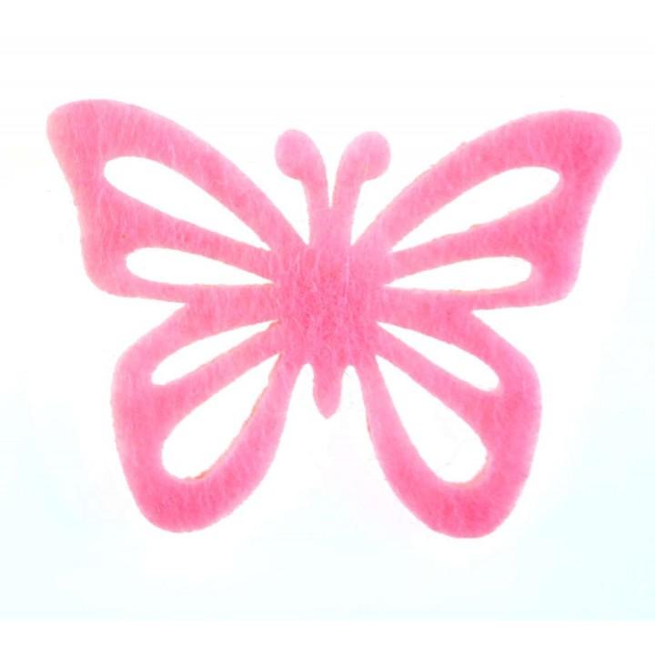 Lot de 12 papillons stickers en feutrine rose