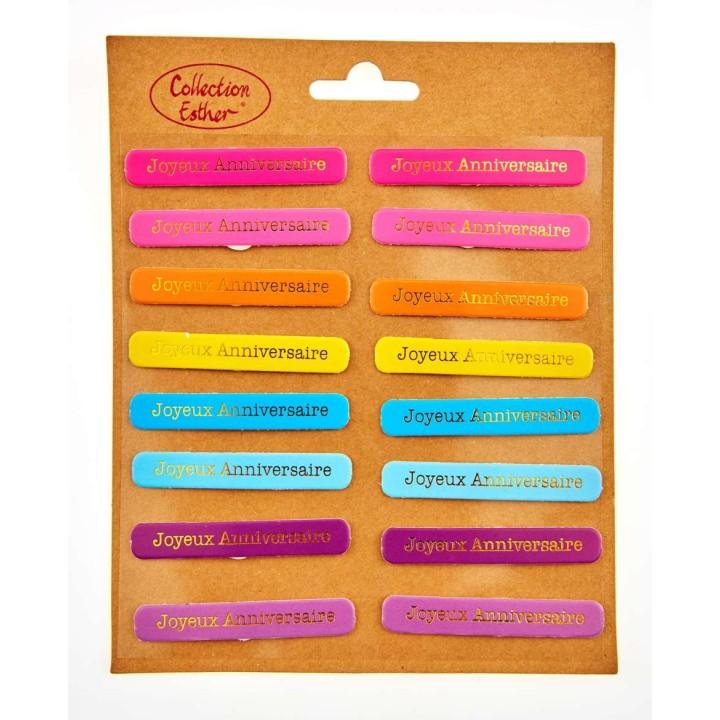 Lot de 16 étiquettes Joyeux Anniversaire à coller