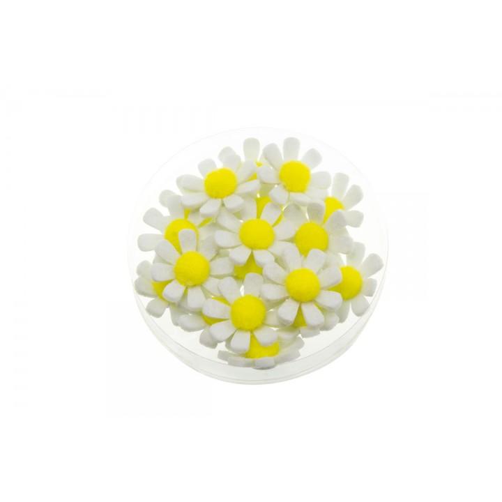 Lot de 18 fleurettes blanches adhésives  3,5 cm
