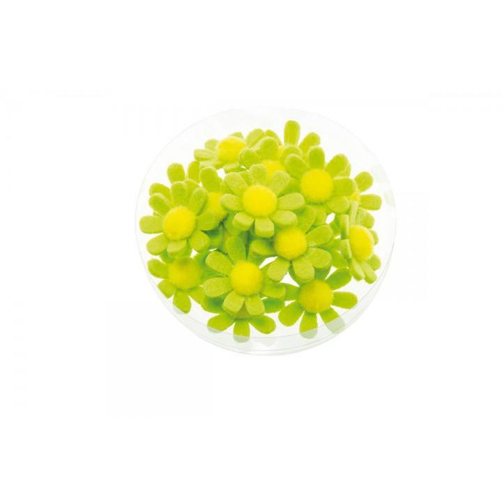 Lot de 18 fleurettes vert lime adhésives 3,5 cm