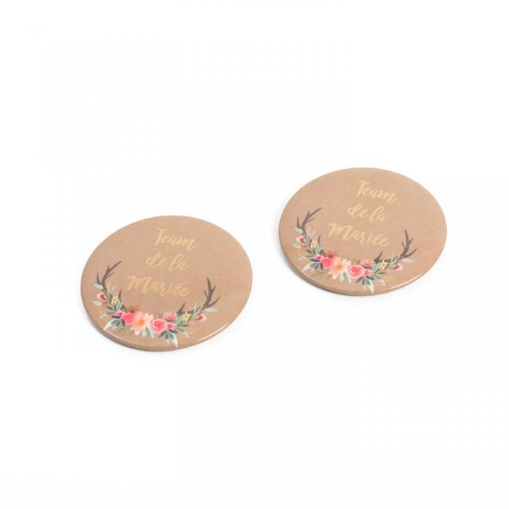 Lot de 2 Badges Team de La mariée Folk et or 5 cm