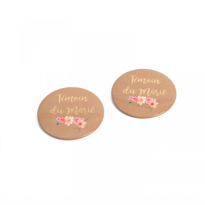 Lot de 2 Badges Témoin du marié Folk et or 5 cm