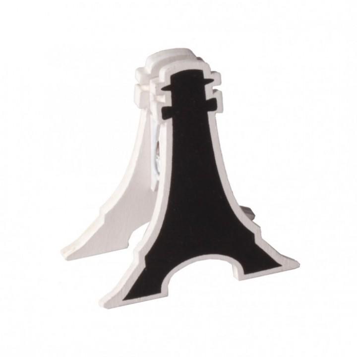 Lot de 2 clips Tour Eiffel Blanc en bois