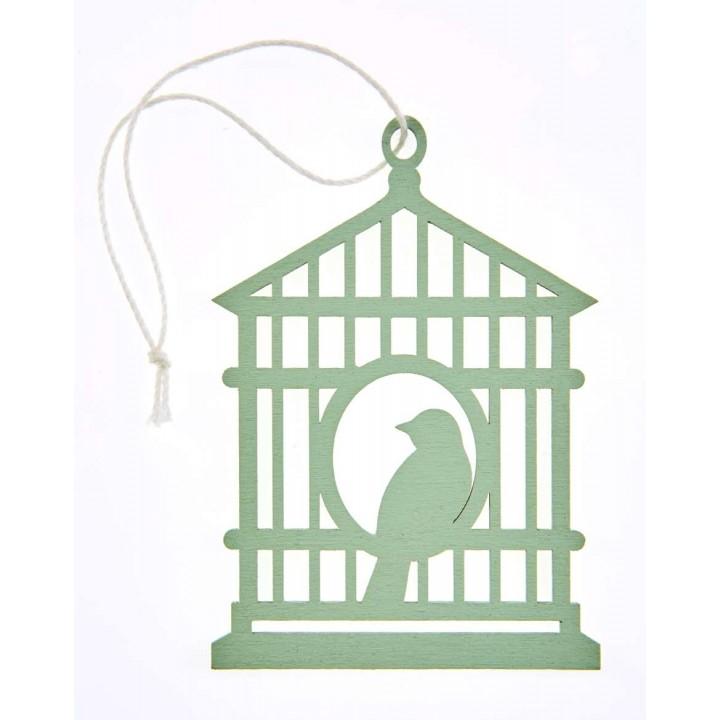 Lot de 2 étiquettes déco cages à oiseaux vert pâle