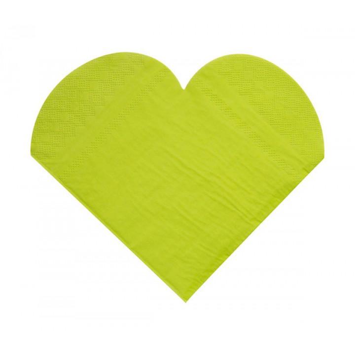Lot de 20 serviettes cœurs en papier vertes