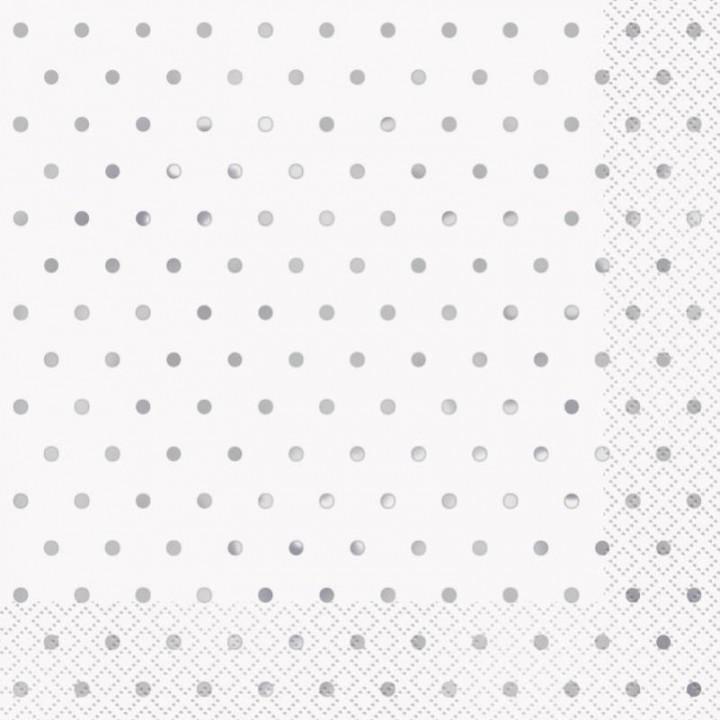 Lot de 20 serviettes intissé Cosmos blanc argent 40 x 40 cm