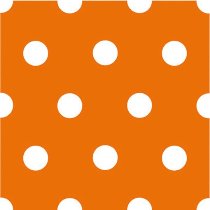 Lot de 20 serviettes intissés orange à pois 40 x 40 cm