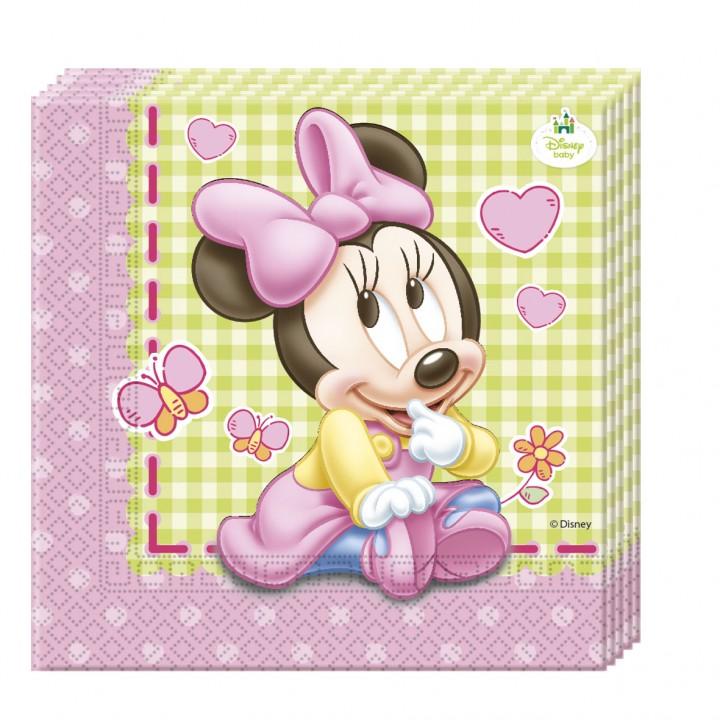 Lot de 20 serviettes jetables Baby Minnie en papier 33 x 33 cm