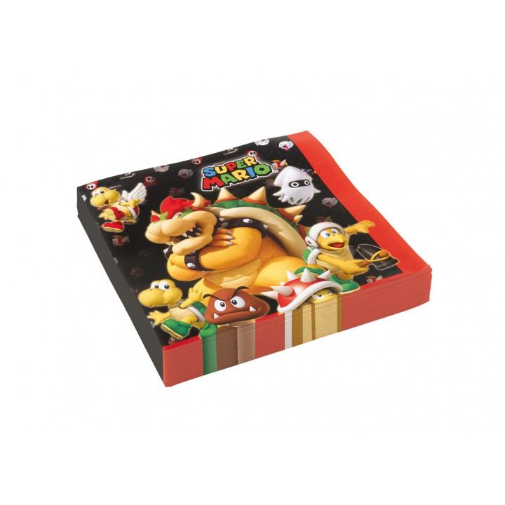 Lot de 20 serviettes jetables Super Mario en papier 33 x 33 cm