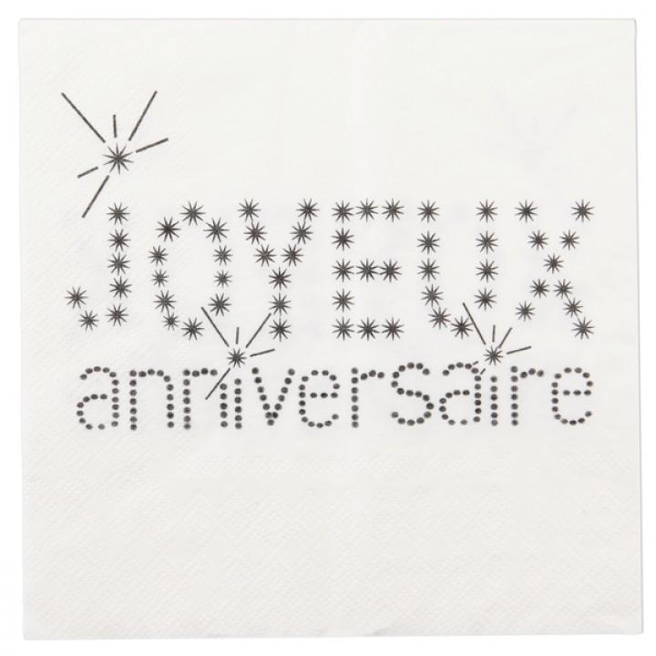Lot de 20  serviettes Joyeux Anniversaire en papier  blanc  33 x 33 cm