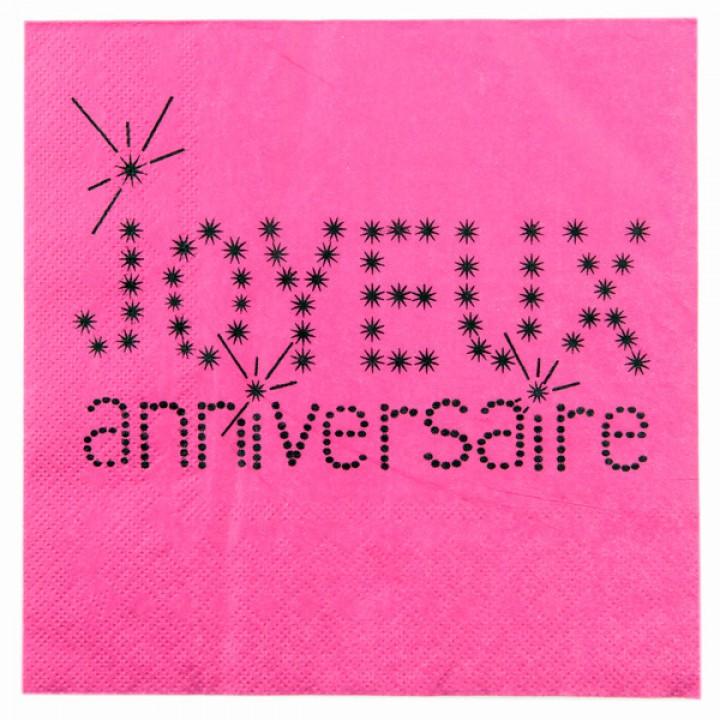 Lot de 20  serviettes Joyeux Anniversaire en papier fuschia  33 x 33 cm