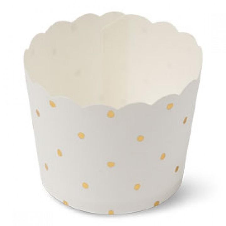 Lot de 25 cakes cup blancs à pois or en carton D 6 cm