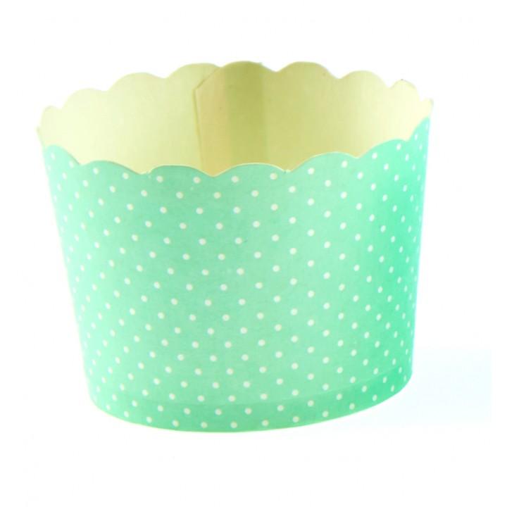 Lot de 25 pots vert plumetis en carton 5,5 x 4,5 cm