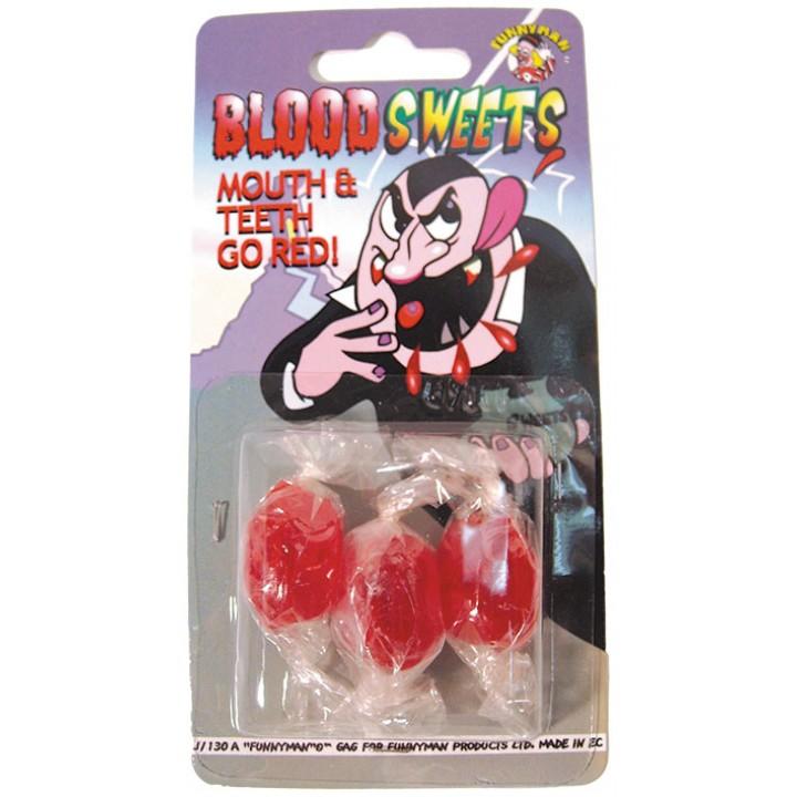 Lot de 3 bonbons goût sang