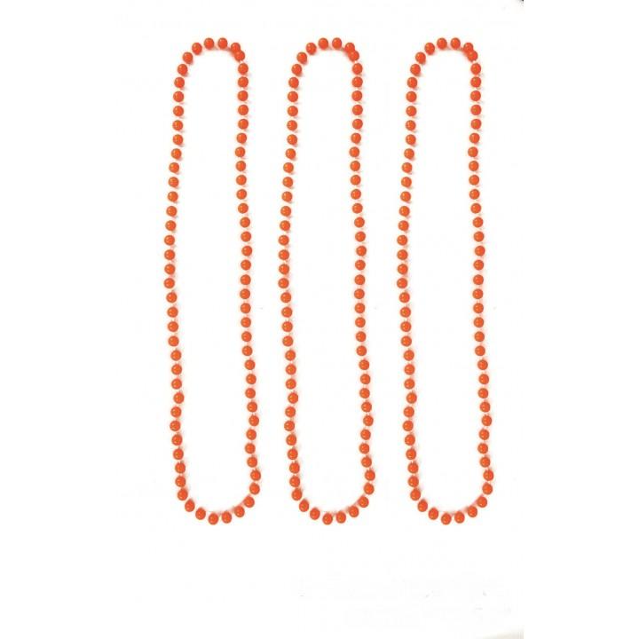 Lot de 3 Colliers de  perles orange fluo