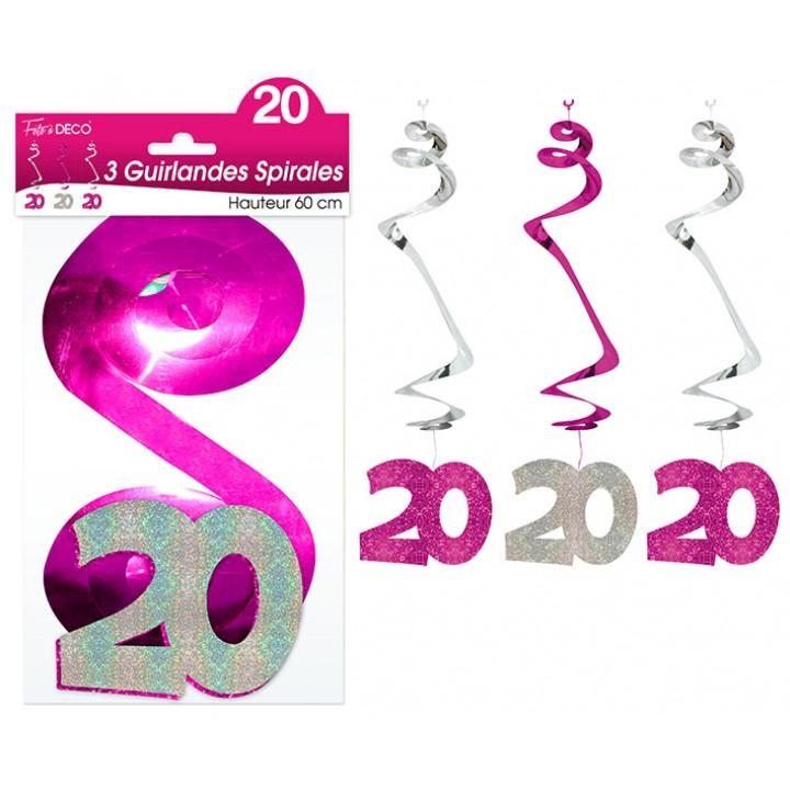 Lot de 3 Guirlandes Spirales 20 ans Hologramme roses