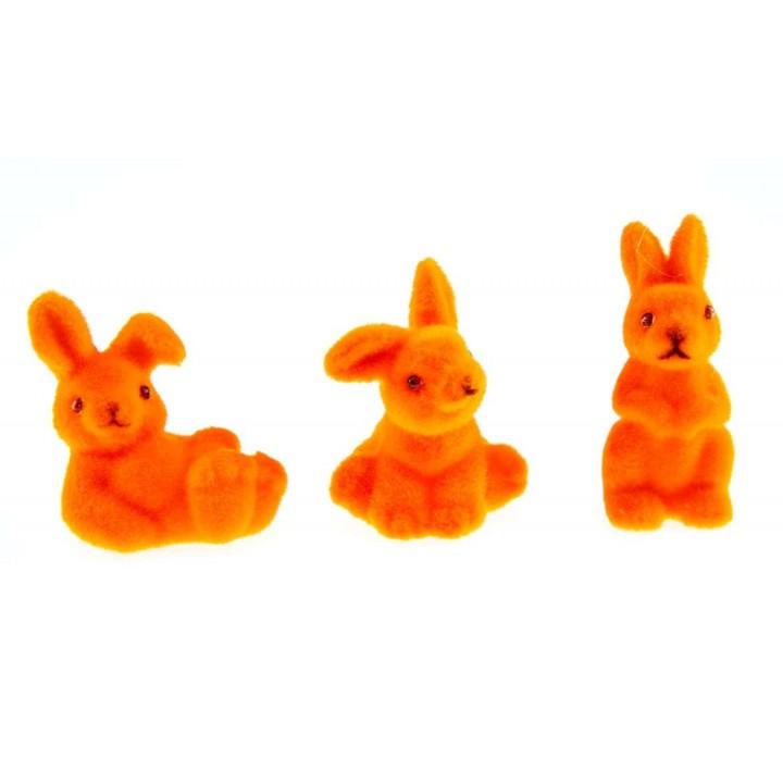 Lot de 3 lapins flockés orange PM