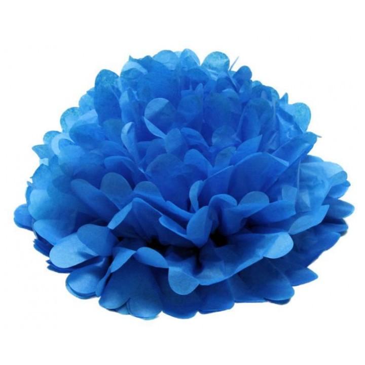 Lot de 3 pompons turquoise déco D 30 cm