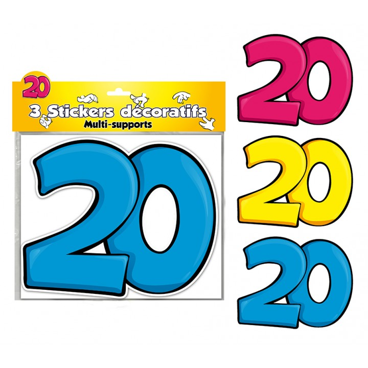 Lot de 3 stickers 20 ans