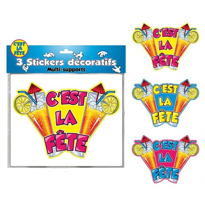 Lot de 3 stickers C'est la fête
